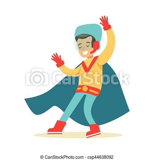bleu, garçon, superhero, avoir, habillé, fait main, déguisement, feindre, cap, sourire, super, pouvoirs, caractère - csp44638092