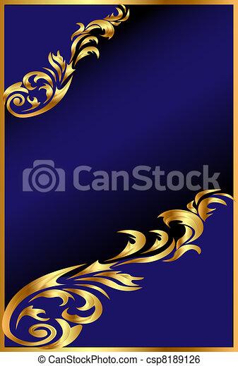 bleu, gold(en), ornement, fond - csp8189126