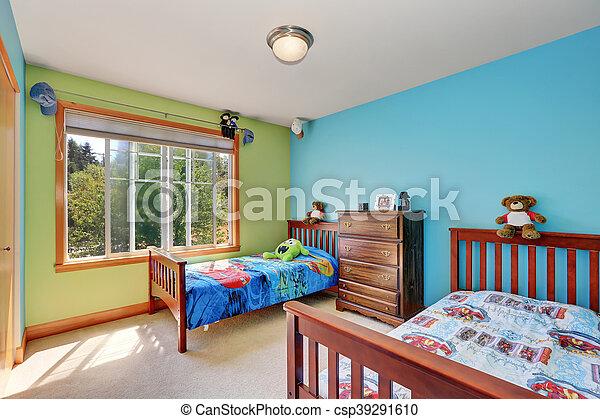 bleu, gosses, beds., deux, vert, chambre à coucher