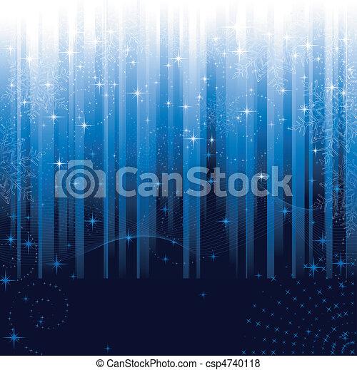 bleu, grand, flocons neige, fête, modèle, themes., ou, arrière-plan., étoiles, rayé, noël, hiver - csp4740118