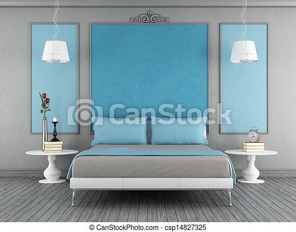 Bleu, gris, chambre à coucher. Bleu, gris, vendange, chambre ...