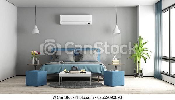 bleu, gris, maître, chambre à coucher