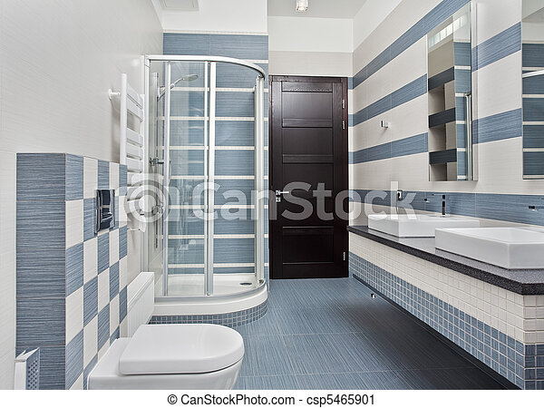 Bleu, gris, salle bains, moderne, douche, tonalités, box. Bleu, gris ...