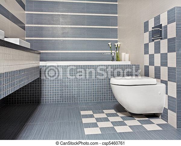bleu, gris, salle bains, toilette, moderne, tonalités