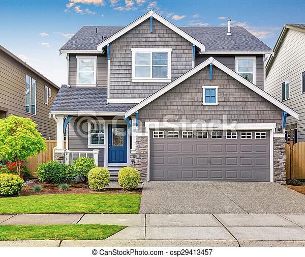 bleu, gris, trim., maison, moderne, blanc extérieur
