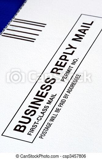 bleu, gros plan, business, isolé, réponse, courrier, vue - csp3457806