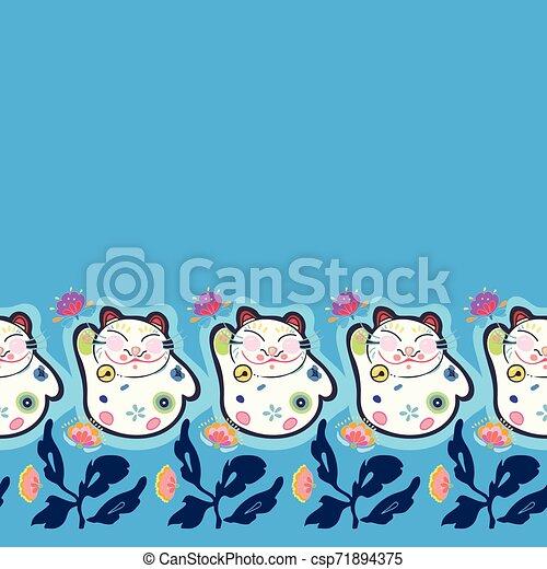 bleu, heureux, frontière, florals., chat - csp71894375