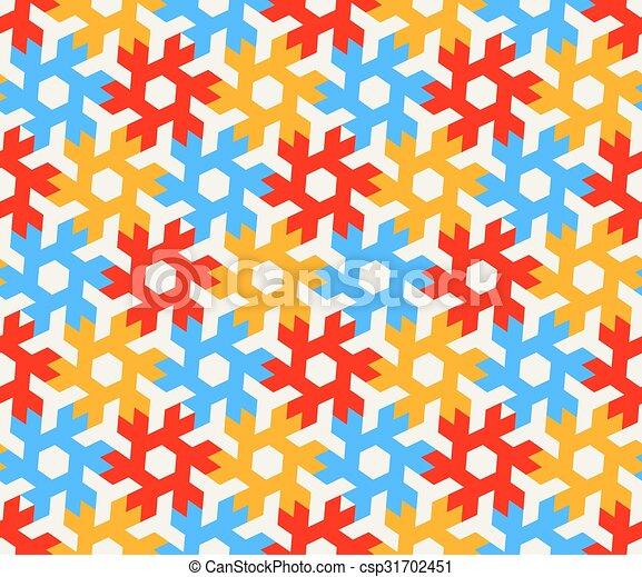 Bleu Hexagonal Modele Seamless Jaune Formes Vecteur Fond Blanc Carrelage Geometrique Rouges
