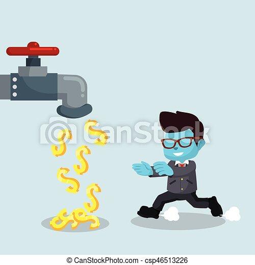 bleu, homme affaires, robinet, argent - csp46513226