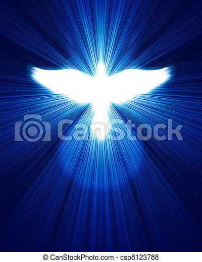 bleu, incandescent, rayons, colombe, contre - csp8123788