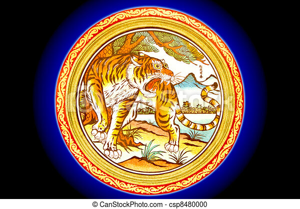 Bleu Indigo Chinois Mur Tigre Mable Fond Peinture Temple