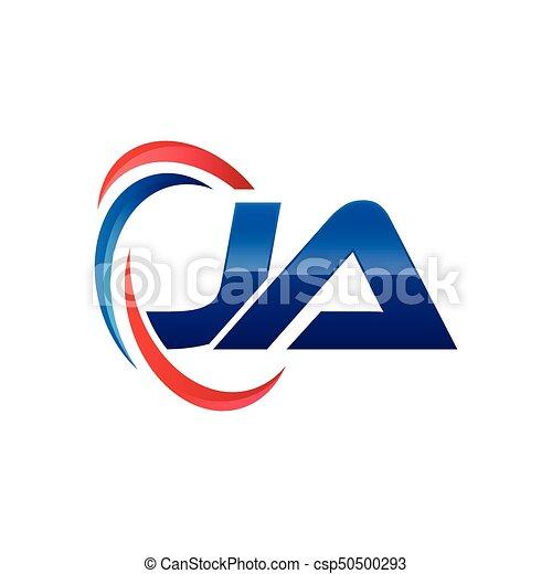 Bleu Initiale Lettre Swoosh Logo Rouges