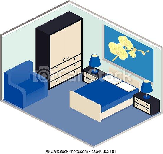 Bleu int rieur isom trique chambre coucher bleu for Conception chambre 3d
