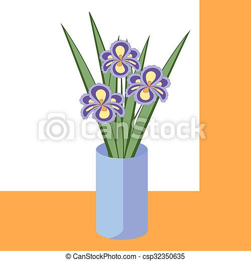 bleu, iris, pourpre, résumé, illustration, bouquet, flowers., vecteur, feuilles, fleurs, vase., carte - csp32350635