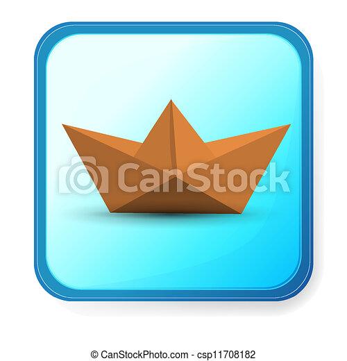 Bleu, Isolé, Arrière Plan., Papier, Origami, Bateau   Csp11708182