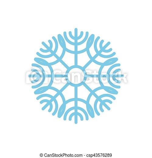bleu, isolated., neige, fond, snowflake blanc - csp43576289