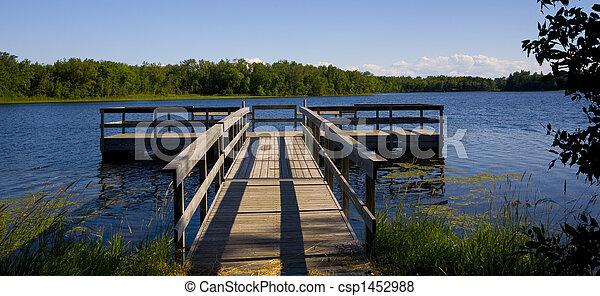 bleu, jetée, pêche lac - csp1452988