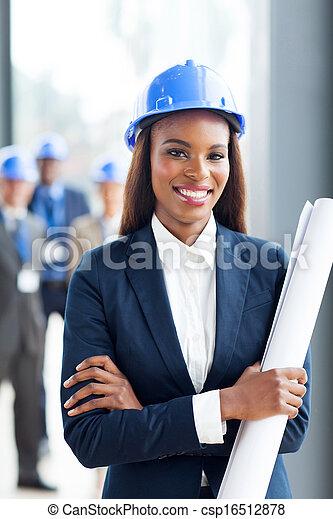 bleu, jeune, directeur, construction, tenue, africaine, impression - csp16512878