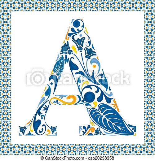bleu, lettre - csp20238358