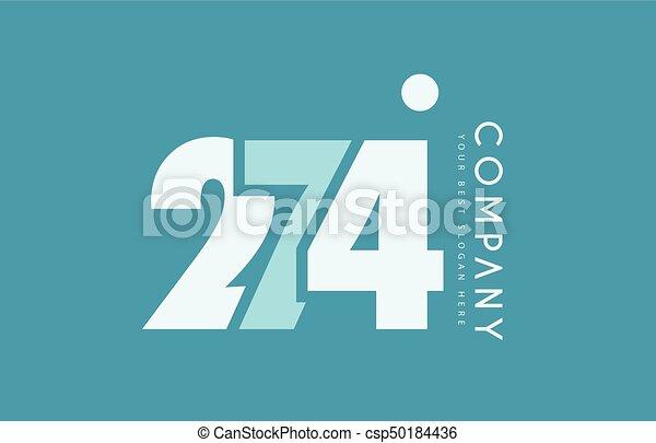 bleu, logo, nombre, 274, cyan, conception, blanc, icône - csp50184436