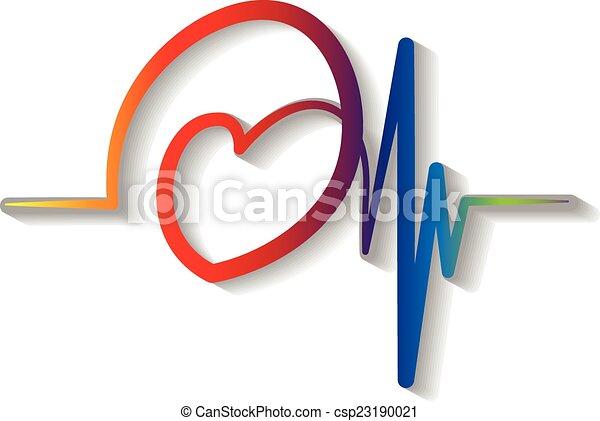 bleu, logo, vecteur, rouges, cardiogramme - csp23190021