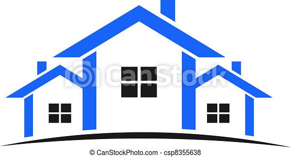 bleu, maisons, logo - csp8355638