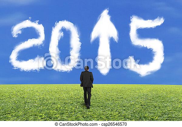 bleu, marche, ciel, 2015, homme affaires, blanc, herbe, nuage - csp26546570