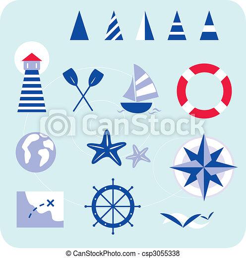 bleu, marin, nautique, icônes - csp3055338
