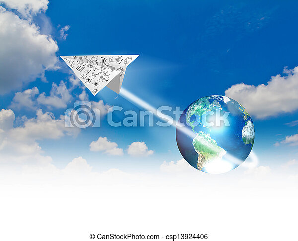 bleu, meublé, ceci, graphique, (elements, ciel, nasa), papier, avions, la terre, image - csp13924406