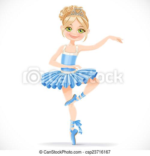 bleu, mignon, ballerine, danse, isolé, fond, girl, robe, blanc - csp23716167