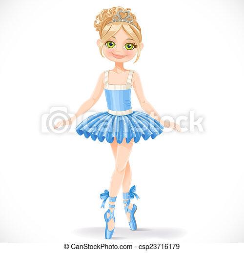 bleu, mignon, ballerine, isolé, fond, girl, robe, blanc - csp23716179