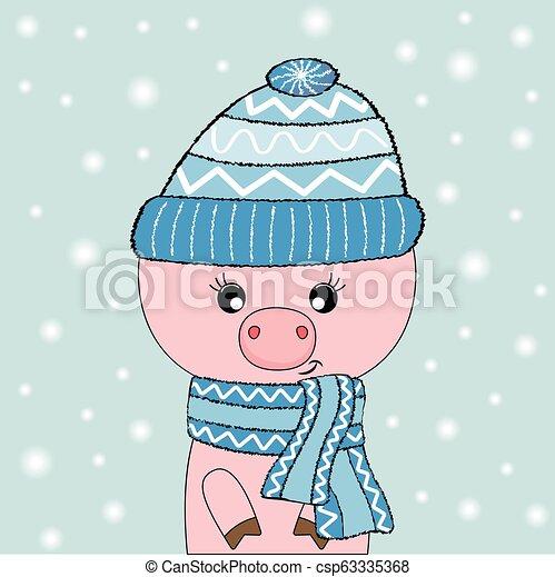 bleu, mignon, isolé, cochon, arrière-plan., rose, chapeau blanc, lunettes - csp63335368