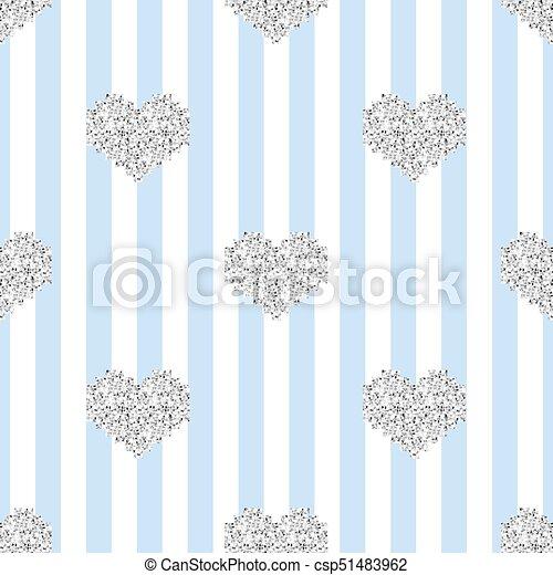 Bleu Modèle Coeur Seamless Pixel Raie Fond Scintillement Argent