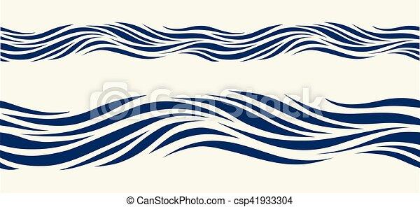 Bleu Modele Stylise Seamless Vagues Bleu Style Vendange
