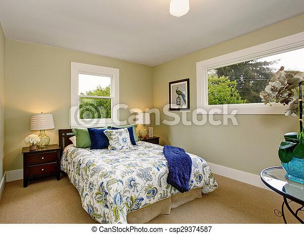 Moquette, bleu, moderne, vert, chambre à coucher, intérieur, decor.