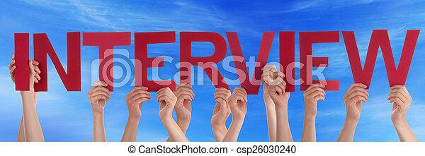 bleu, mot, gens, beaucoup, directement, ciel, tenant mains, entrevue, rouges - csp26030240