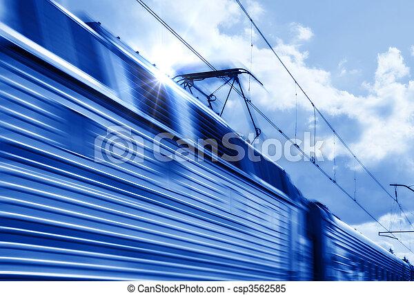 bleu, mouvement, train, vitesse - csp3562585