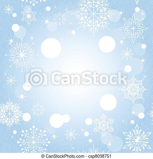 bleu, noël, fond, flocon de neige - csp8038751