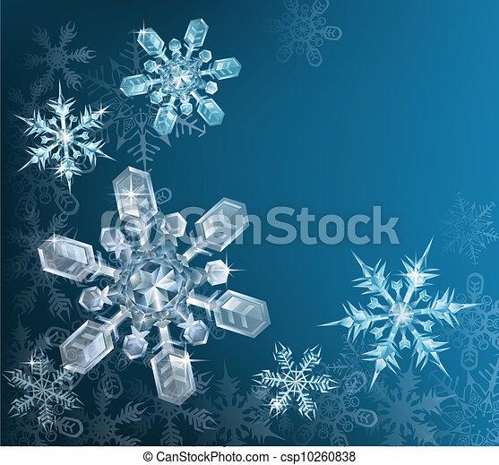 bleu, noël, fond, flocon de neige - csp10260838