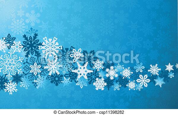 bleu, noël, fond, flocons neige - csp11398282