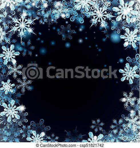 bleu, noël, fond, flocons neige - csp51821742