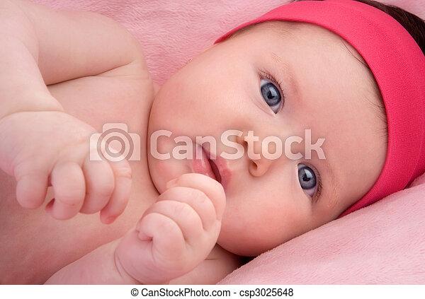 bleu, nouveau né, yeux, adorable, bébé - csp3025648