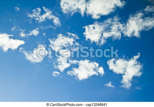 bleu, nuages, ciel, clair, joli, céleste, blanc - csp13246641