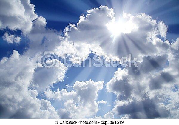 bleu, nuages, rayons, lumière ciel, blanc - csp5891519