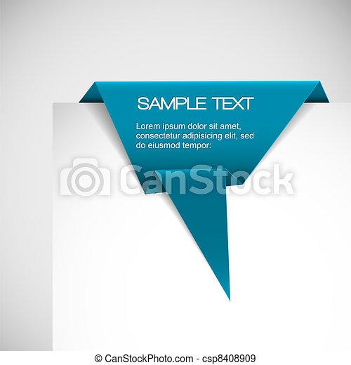 bleu, origami, vecteur, papier, ruban - csp8408909