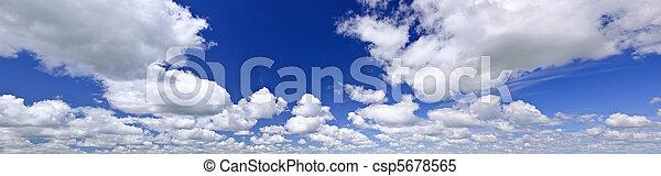 bleu, panorama, ciel, nuageux - csp5678565