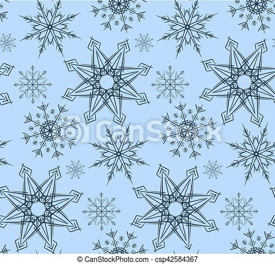 Bleu Papier Peint Tissu Variete Snowflakes Emballage Seamless Texture Papier Couleurs Vecteur Conception Fond Canstock