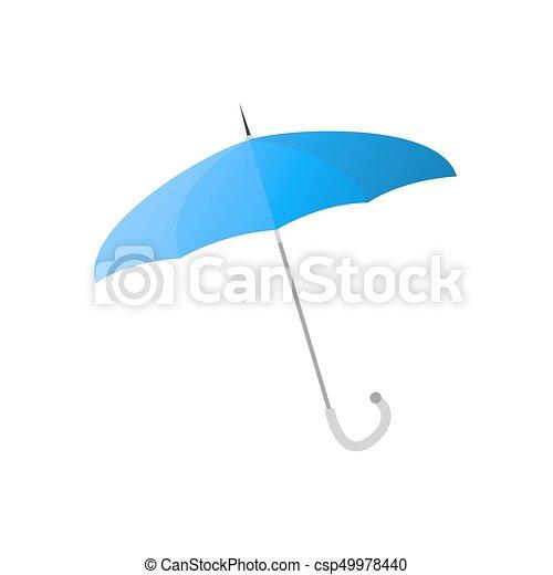bleu, parapluie, métal, isolé, illustration, mince, crosse - csp49978440