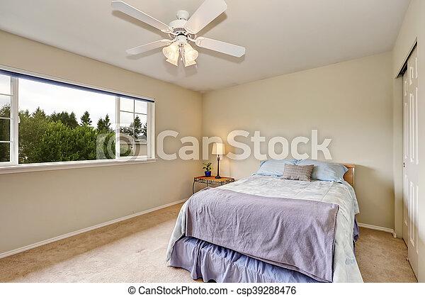 bleu, pastel, color., beige, chambre à coucher, intérieur