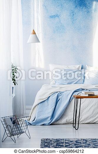 bleu, pastel, literie, lit, lampe, livres, chambre à coucher, intérieur,  table, blanc